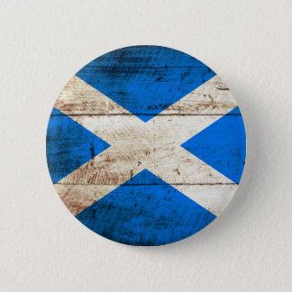 Schottland-Flagge auf altem hölzernem Korn Runder Button 5,7 Cm