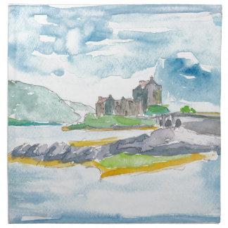 Schottland-Hochland-Fantasie und Eilean Donan Serviette