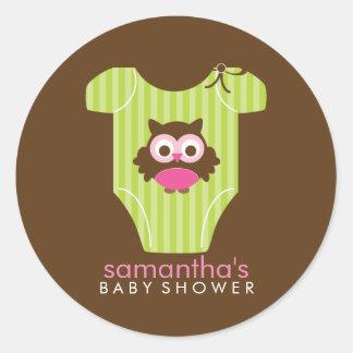 Schrei-Eulen-Ausstattungs-Mädchen-Babyparty Runde Aufkleber