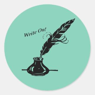 Schreiben Sie an! Spulen-Tinte für Verfasser Runder Aufkleber