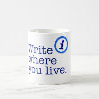 Schreiben Sie, wo Sie Tasse leben