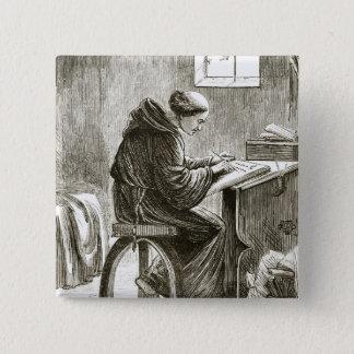 Schreiben St. Vincent in seiner Zelle bei Ferins, Quadratischer Button 5,1 Cm