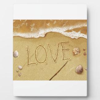 Schreibens-Liebe im Sand Fotoplatte