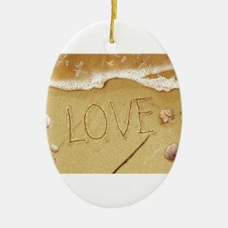 Schreibens-Liebe im Sand Keramik Ornament