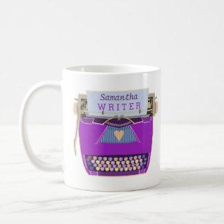 Schreibmaschinen-niedlicher Retro moderner lila Kaffeetasse