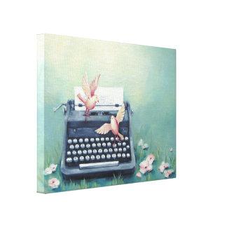 Schreibmaschinen-u. Vogel-Leinwand-Druck Leinwanddruck