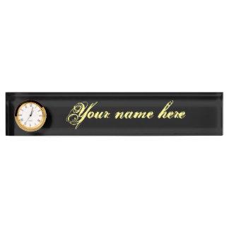 Schreibtisch-Nummernschild mit Uhr Namensplakette