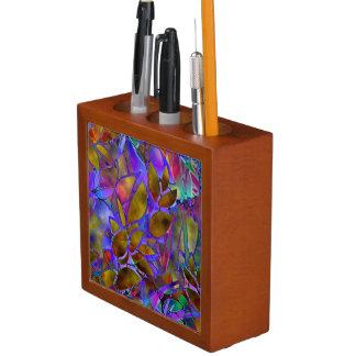 Schreibtisch-Organisator-abstraktes beflecktes mit Stifthalter