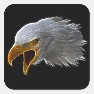 Schreiender amerikanischer Weißkopfseeadler-Kopf Quadrat-Aufkleber
