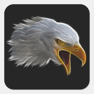 Schreiender amerikanischer Weißkopfseeadler-Kopf Quadratischer Aufkleber