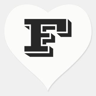 Schriftart-weiße Herz-Aufkleber des Buchstabe-F