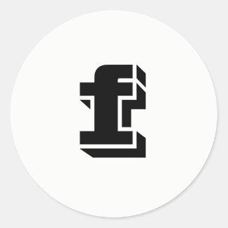 Schriftart-weiße runde Aufkleber des Buchstabe-F