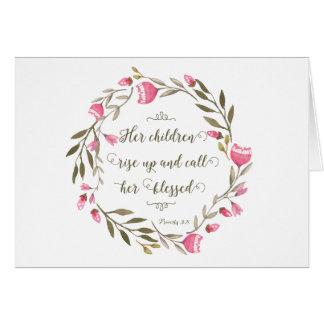 Schrifts-Sprichwort-31:28 der Mutter Tages Karte