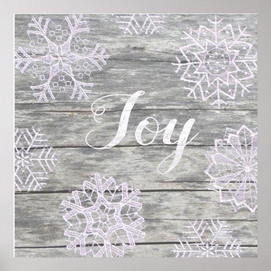 """Schriftzug """"Joy"""" auf Holz mit Spitzensternen Poster"""