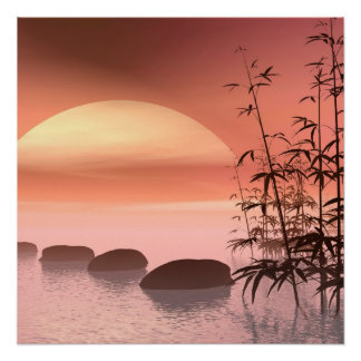 Schritte zum roten Sonnenuntergang Poster