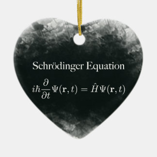 Schrödinger Gleichungs-Mathe u. Quantums-Physik Keramik Herz-Ornament