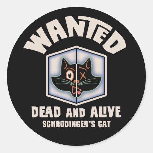 Schrodingers Katze gewollt Runde Sticker