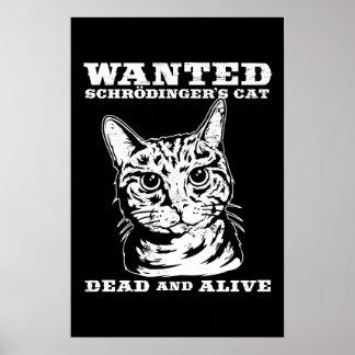 Schrodingers Katze wollten Tote oder lebendiges Posterdrucke