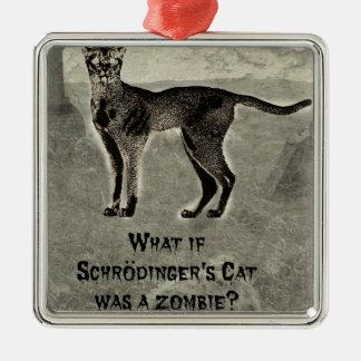 schrodingers Katzenzombie Silbernes Ornament
