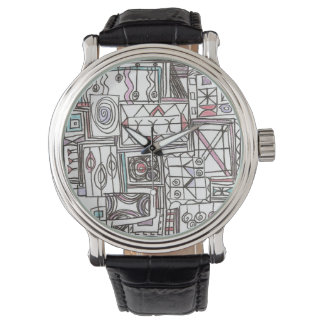 Schrullig-Wunderliches geometrisches Gekritzel Uhr