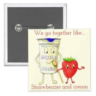 Schrullige Erdbeere u. Creme für besten Quadratischer Button 5,1 Cm