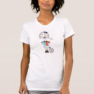 Schrullige Tennismädchen-Hipster illustraties Hemden