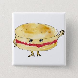 Schrullige Victoria-Schwamm-Kuchen-lustige Quadratischer Button 5,1 Cm