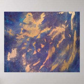 Schrulliger abstrakter   Spaß-lila blauer Poster