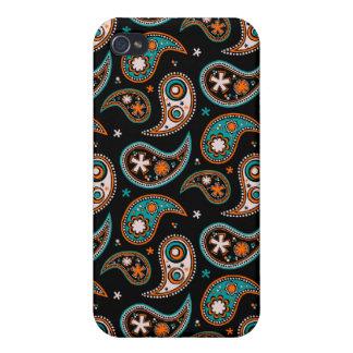 Schrulliger Paisley-Türkis und -orange iPhone 4 Hüllen