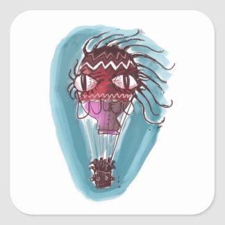 schrulliges Heißluft baloon große Augen-Rothexe Quadratischer Aufkleber