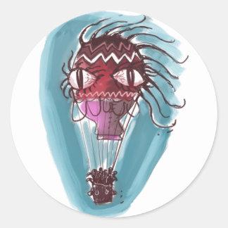 schrulliges Heißluft baloon große Augen-Rothexe Runder Aufkleber
