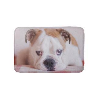 Schüchterner englischer Bulldoggen-Welpe Badematte