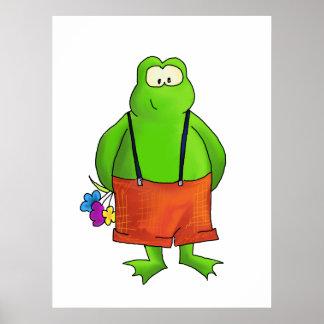 Schüchterner Jungen-Frosch-Kunst-Druck Plakate