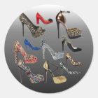 Schuh-fertigen hohe Heels-Collage besonders an Runder Aufkleber