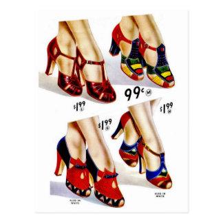 Schuhe der Retro die Vintagen Frauen der Postkarte