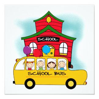 Schul-und Schulbus-T - Shirts und -geschenke Quadratische 13,3 Cm Einladungskarte