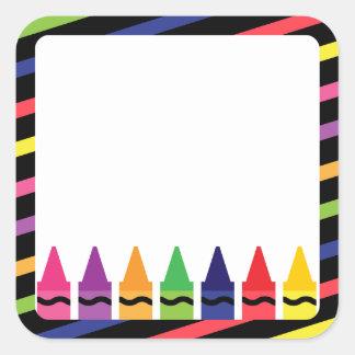 Schulaufkleber mit Zeichenstiften Quadratischer Aufkleber