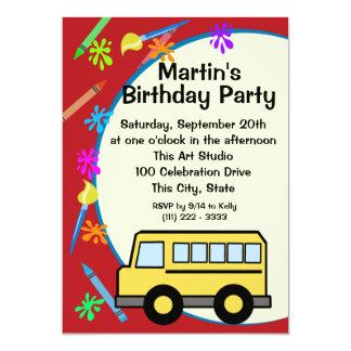 Schulbus-Kunst-Geburtstag 12,7 X 17,8 Cm Einladungskarte