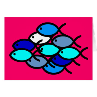Schule der christlichen Fisch-Symbole - Blau - Karte