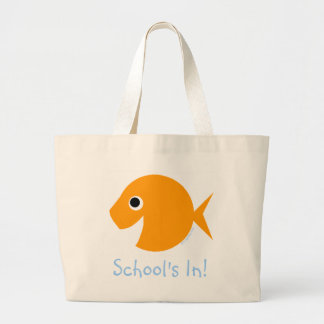 Schule ist im niedlichen Cartoongoldfish-Lehrer Jumbo Stoffbeutel