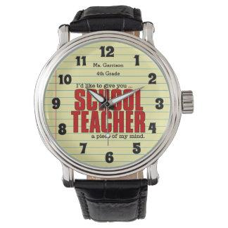 Schullehrer-Stück lustigen Gewohnheit der Armbanduhr