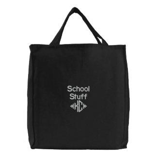 Schulmaterial - gestickte Tasche