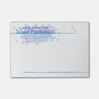 Schulpsychologe-blaue Post-it Klebezettel