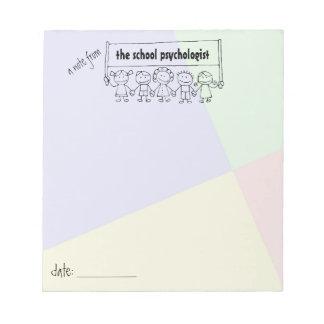 Schulpsychologe-Notizblock mit Kinderfahne Notizblock