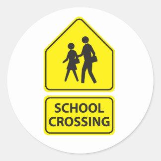 Schulüberfahrt-Zeichen-Aufkleber Runder Aufkleber