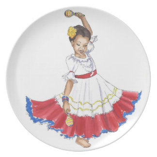 Schürze-Geschenkplatte des Latina-Tänzermädchens Party Teller