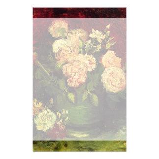 Schüssel der Pfingstrosen und der Rose, Vincent Briefpapier