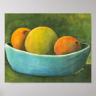 Schüssel Frucht-Stillleben Poster
