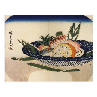 Schüssel Sushi, circa 1800's Japan Postkarte