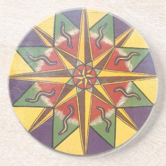 Schutz-Stern-Mandala Getränkeuntersetzer